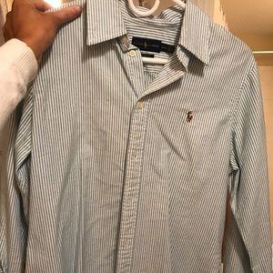 Blue/white striped Ralph Lauren button down shirt